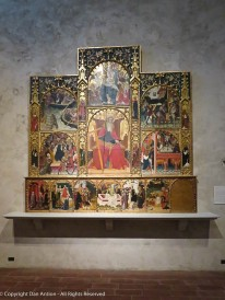 Tempera on wood. Painted in mid 1400s. The lower right panel was missing when purchased.