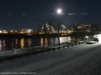 Full moon over Great River Park. The park is closed.