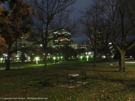 There is almost no snow left in Bushnell Park in Hartford.