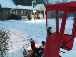 I set the snow blower to leave a little snow so that when the freezing rain begins, it won't be ice on bare pavement.