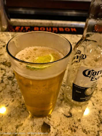Corona, frosted glass, lime.