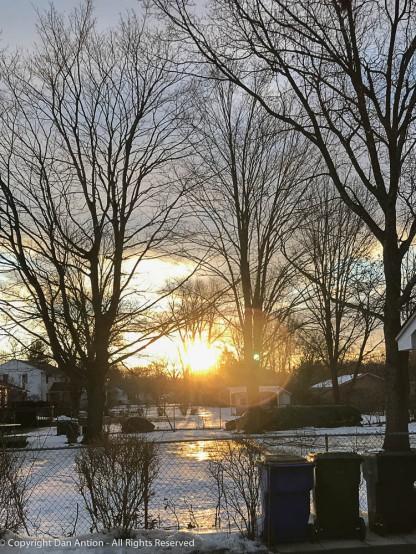 Sunshine reflecting off the ice.