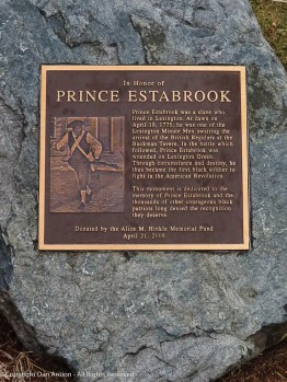 Prince Estabrook was the first black soldier to fight in the American Revolution. It took too long for him to be recognized. On the lawn of the Buckman Tavern.