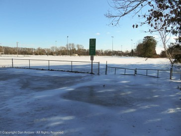 Maddie's park is a giant sheet of ice.