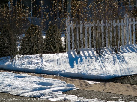 I like the bright sun reflecting off the snow and the shadows.