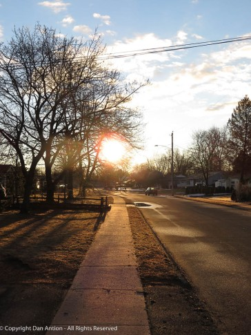 Walking at sunrise.