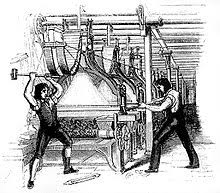Later interpretation of machine breaking (1812), showing two men superimposed on an 1844 engraving from the Penny magazine which shows a post 1820s Jacquard .