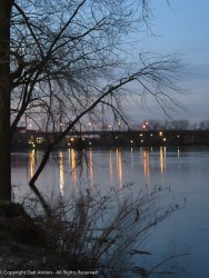 Looking south from Great River Park onto a slightly flooded Connecticut River.
