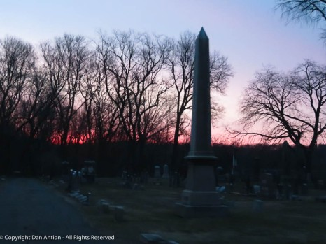 Red sky rising over Elm Grove Cemetery