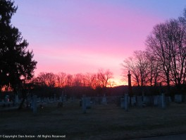 Looking east over Elm Grove Cemetery.