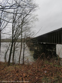 The Connecticut River is pretty high. This train trestle is usually about four times as high above the surface.