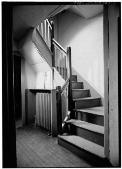 "Wright Tavern, interior staircase. The library has a post card of this staircase that says, ""In this place Maj. Pitcarin Drank his Toddy - April 19, 1775"""
