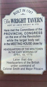 Plaque on the Wright Tavern