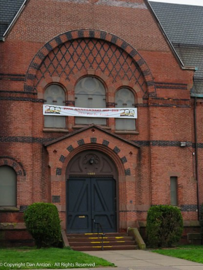 At first, I thought this church was abandoned because the windows appear to be boarded up. But the banner speaks of 200 years of service through 2019. The windows are just covered with plastic panels.
