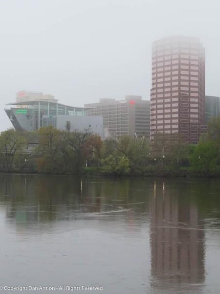 Hartford, under a blanket of fog.