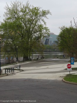 The north end of the parking lot is dry-ish