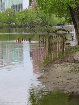 Great River Park is still under flood waters.