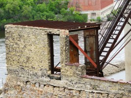 Before the fire, this appears to have provided access to the rooftop from where one could access the silos.