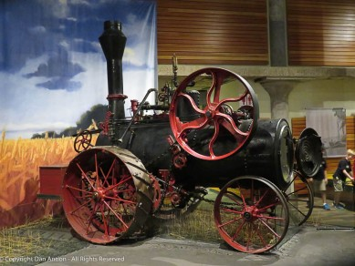 The steam engine can move on its own, and the large drive wheel on top can power machinery of all sorts.