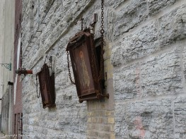 I'm not sure if these chutes are ingoing or outgoing. They could have been used to discharge the collected flour dust.