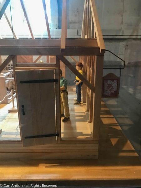 """The entrance door to the model of the new cabinet shop. If you think the sign looks familiar, you might be remembering """"The New Yankee Workshop"""""""