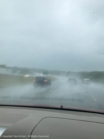 Poor Faith. On the way home from our outing on Sunday, she had to drive through a rain storm.