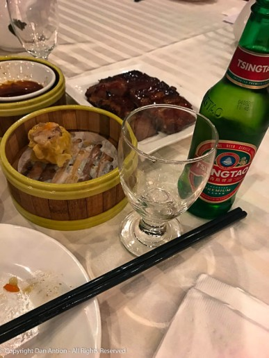We've done a pretty good job on the Dim Sum. Moving onto our second Tsing Tao.