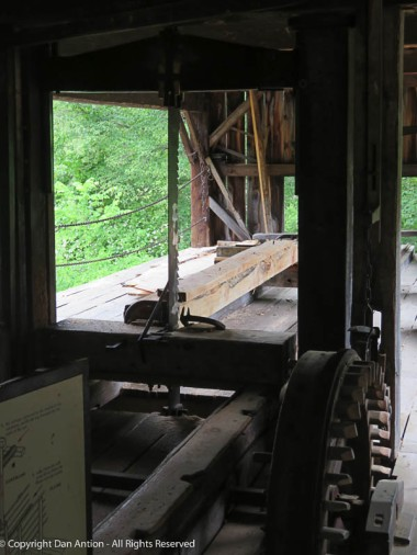 The business end of the sawmill. The saw reciprocated (up and down), driven by a cam on the water wheel. Water powered the saw and possible the sled that pulls the log through the blade.
