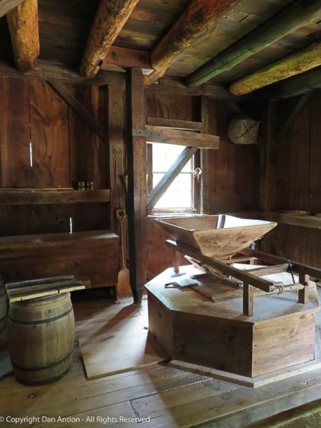 This is an active milling station in the grist mill.