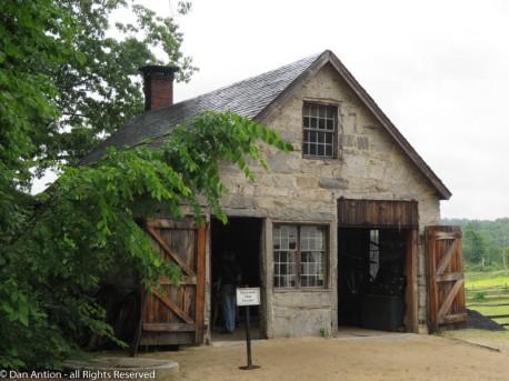 The blacksmith shop is an impressive building.