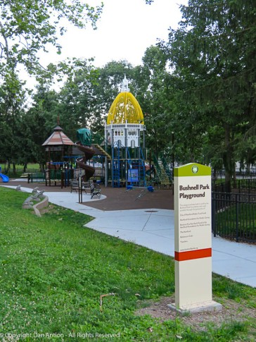 The park is designed to match the Hartford city skyline, the nearby Capitol building and Memorial Arch