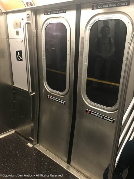 Subway doors on the #1 train.