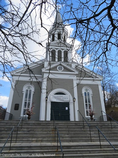 This church overlooks Monument Square.
