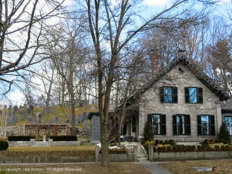 This house sits in front of the historic cemetery in Concord.