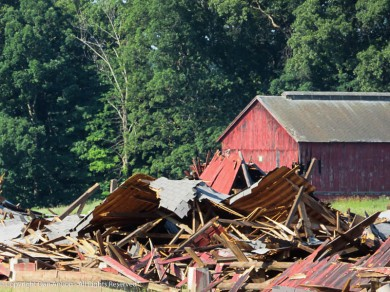 One of the nearby tobacco farms is tearing down a lot of their barns. They are too expensive to maintain.