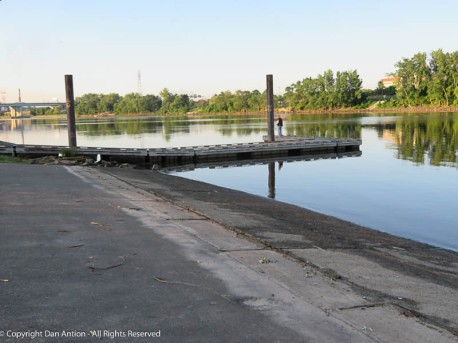 Two months ago, this entire parking lot was under water. Now, there's almost not enough water to launch a boat.
