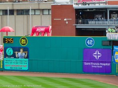 Jackie Robinson (42) and Roberto Clemente (21) - both numbers retired in this park.