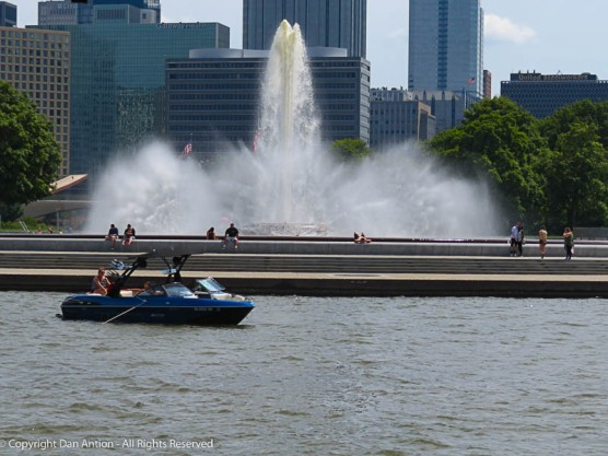 The fountain at Point State Park in Pittsburgh. At this location in the water, it's hard to know what river you are in.