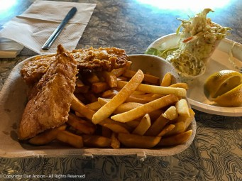 Fish & Chips with a side of cole slaw.