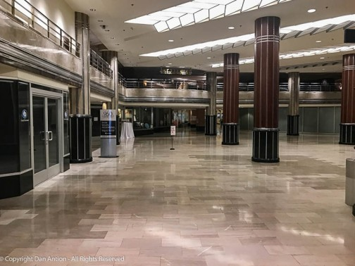 You have to imagine this floor covered with counters and racks and salespeople.