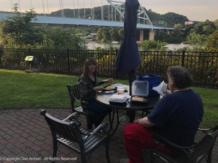 The hotel on Neville Island was a good location to meet, and a good base of operations. We got take-out and enjoyed it on the patio. Neville Island in in the Ohio River.