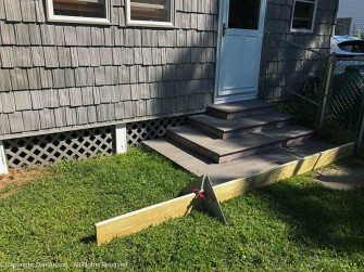 Before I started building the mini-decks, we laid one out for a final check. The new steps will be a little deeper, a lot wider and there will only be three steps, with a higher rise from step to step.