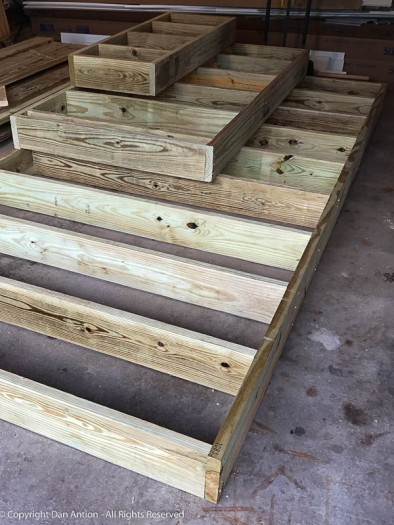 The plan is to build the structures of all the stairs and then order the decking. This will minimize the time we will be without access from any one door.
