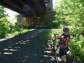 When we ride the Windsor Locks Canal trail, we always stop under the railroad bridge.