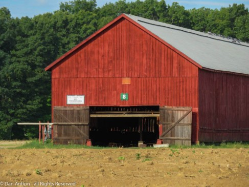 They just opened this barn today, but there's no tobacco hanging in it yet.