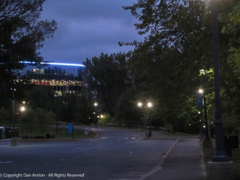 The building at the top of the levy has recently been renovated, including the blue light.