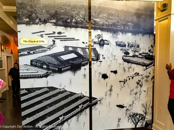 The flood of 1936. The Eastern States Exhibition grounds boarders the Westfield River on its way to the Connecticut River.