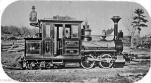 """""""Ariel"""" - One of two narrow gauge locomotives operating on the Billerica and Bedford Railroad."""