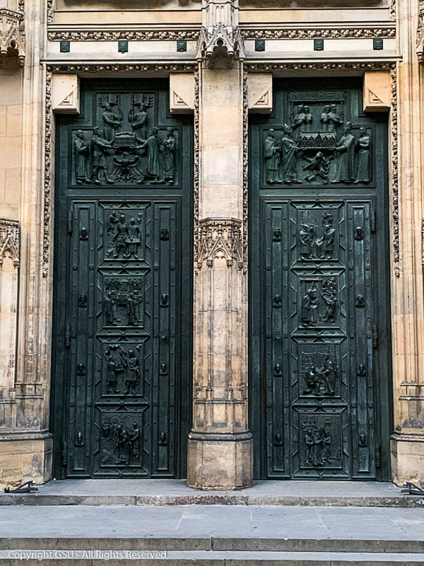 Close-up of the doors.