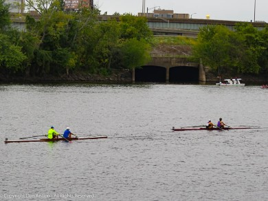 The Connecticut River is seeing a lot of traffic today as a regata is underway.